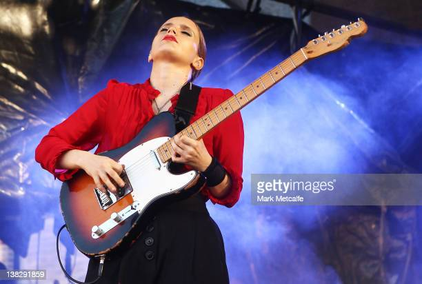 Anna Calvi performs on stage during the Laneway Music Festival on February 5 2012 in Sydney Australia