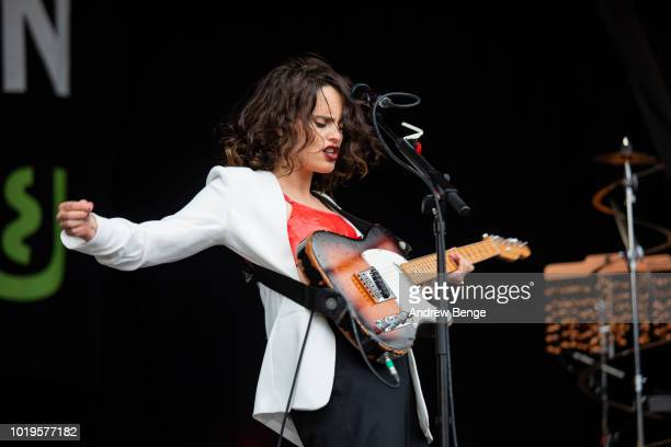 Anna Calvi performs on the Mountain stage during day 3 at Greenman Festival on August 19 2018 in Brecon Wales