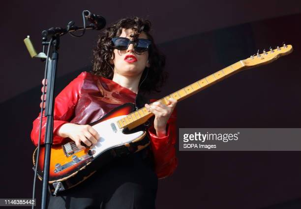 Anna Calvi seen performing live on stage during the All Points East Festival at Victoria Park in London