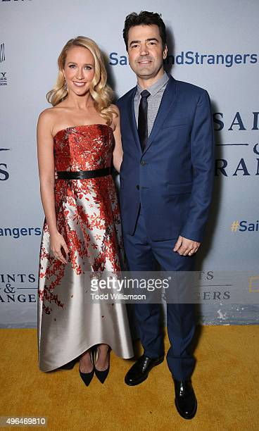 Anna Camp and Ron Livingston attend National Geographic Channel's Saints Strangers world premiere event at Saban Theatre on November 9 2015 in...