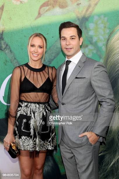 Anna Camp and Skylar Astin attend the premiere of HBO's 'Sharp Objects' at The Cinerama Dome on June 26 2018 in Los Angeles California