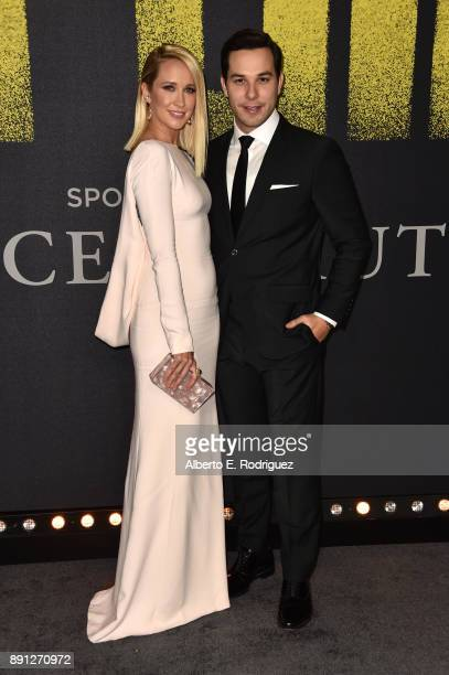 Anna Camp and Skylar Astin attend the premiere of Universal Pictures' 'Pitch Perfect 3' at Dolby Theatre on December 12 2017 in Hollywood California