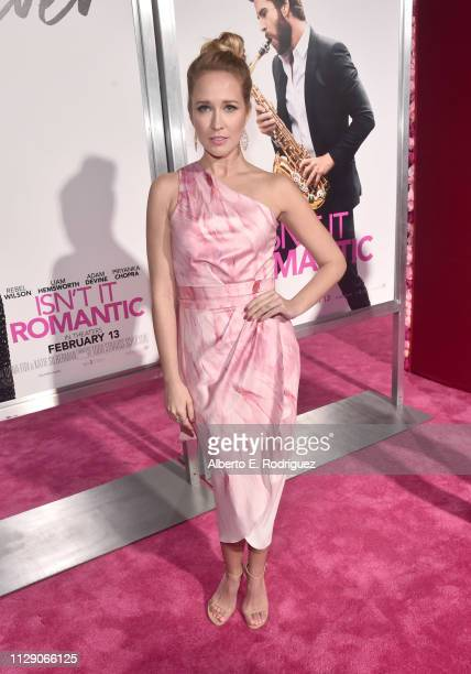 Anna Camp attends the World Premiere of Warner Bros Pictures' Isn't It Romantic at The Theatre at Ace Hotel on February 11 2019 in Los Angeles...
