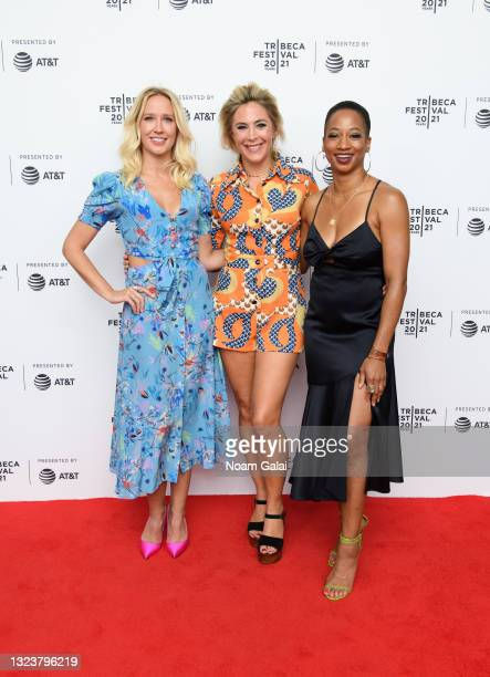 """Anna Camp, director Bonnie Discepolo and Monique Coleman attend the """"Graceland"""" premiere at Pursuing Happiness during the 2021 Tribeca Festival at..."""