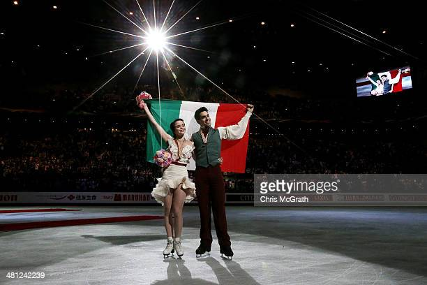 Anna Cappellini and Luca Lanotte of Italy celebrate victory in the Ice Dance Free Dance during ISU World Figure Skating Championships at Saitama...
