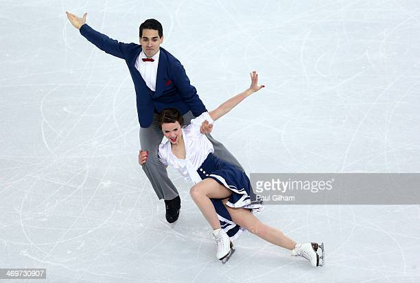 Anna Cappellini and Luca Lanotte of Italy compete during the Figure Skating Ice Dance Short Dance on day 9 of the Sochi 2014 Winter Olympics at...