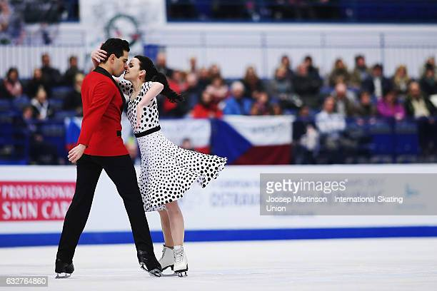 Anna Cappellini and Luca Lanotte of Italy compete in the Ice Dance Short Dance during day 2 of the European Figure Skating Championships at Ostravar...