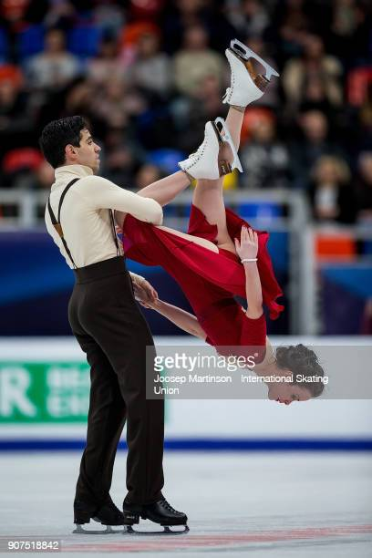 Anna Cappellini and Luca Lanotte of Italy compete in the Ice Dance Free Dance during day four of the European Figure Skating Championships at...