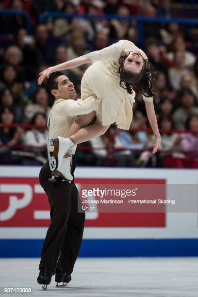Anna Cappellini and Luca Lanotte of Italy compete in the Ice Dance Free Dance during day four of the World Figure Skating Championships at Mediolanum...