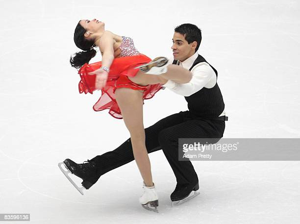 Anna Cappellini and Luca Lanotte of Italy compete in the Original Dance during the Cup Of China ISU Grand Prix Of Figure Skating 2008 at Capital...