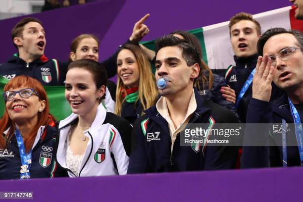Anna Cappellini and Luca Lanotte of Italy react after receiving their score in the Figure Skating Team Event – Ice Dance Free Dance on day three of...