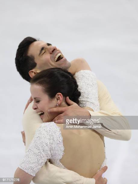 Anna Cappellini and Luca Lanotte of Italy react after their routine in the Figure Skating Team Event Ice Dance Free Dance on day three of the...