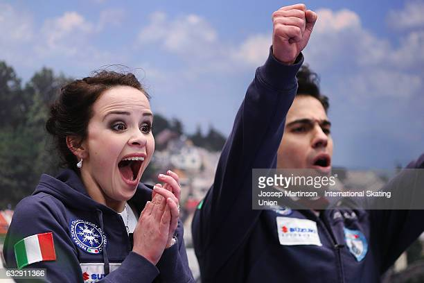 Anna Cappellini and Luca Lanotte of Italy react at the kiss and cry after competing in the Ice Dance Free Dance during day 4 of the European Figure...