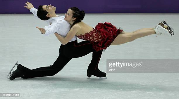 Anna Cappellini and Luca Lanotte representing Italy skate their free program in the dance competition at the 2013 World Figure Skating Championships...