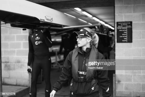 Anna Carbery Coxwain of The Oxford University Boat Club Trial 8s crew 'Strong' looks on ahead of The Cancer Research UK Boat Race on December 6 2017...