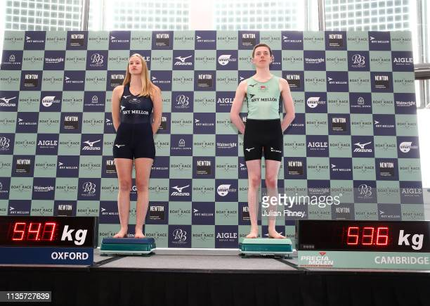 Anna Carbery of Oxford University Boat Club and Matthew Holland of Cambridge University Boat Club weigh in during The Boat Race Crew Announcement...