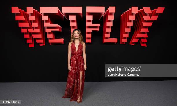 Anna Castillo attends the red carpet during the Netflix presentation party at the Invernadero del Palacio de Cristal de la Arganzuela on April 4 2019...