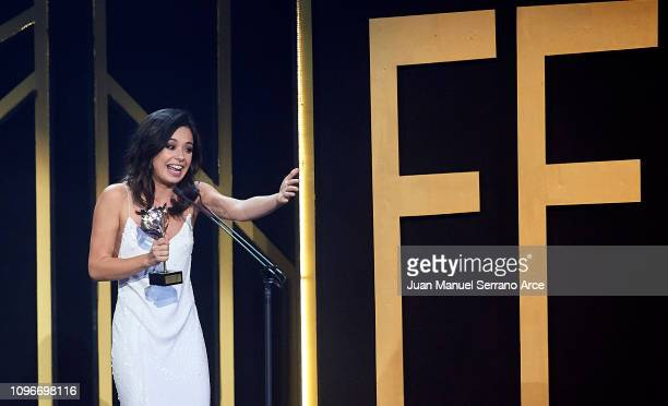 Anna Castillo receives the Best Supporting Actress Award during Feroz Awards 2019 at Bibao Arena on January 19 2019 in Bilbao Spain