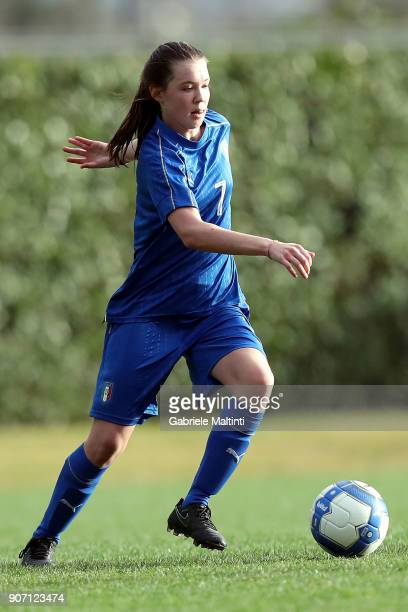 Anna Catelli of Italy U16 women in action during the U16 Women friendly match between Italy U16 and Slovenia U16 at Coverciano on January 19 2018 in...