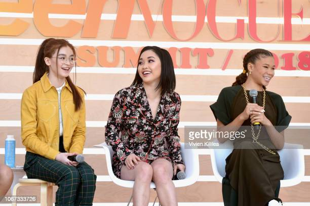 Anna Cathcart Lana Condor and Storm Reid speak onstage during The Rise of Women of Color in Hollywood panel at The Teen Vogue Summit 2018 Serena...