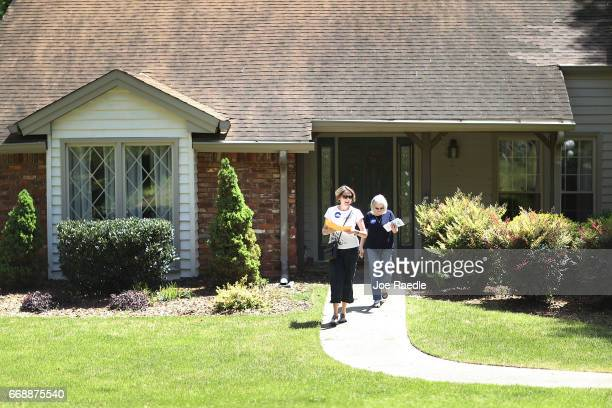 Anna Cay Robertson and Christina Ferguson canvass a neighborhood for Democratic candidate Jon Ossoff as he runs for Georgia's 6th Congressional...