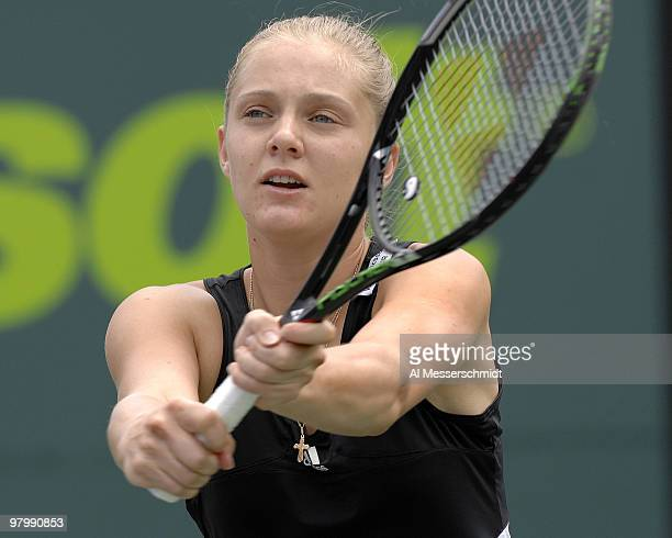 Anna Chakvetadze during her 26 36 loss to Justine HeninHardenne in a semi final at the 2007 Sony Ericsson Open in Key Biscayne Florida on March 29...