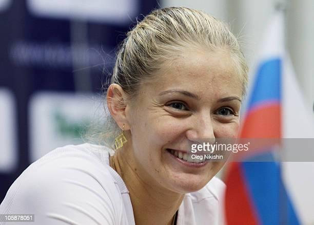Anna Chakvetadze of Russia attends a press conference during the Kremlin Cup Tennis at the Olympic Stadium on October 21 2010 in Moscow Russia