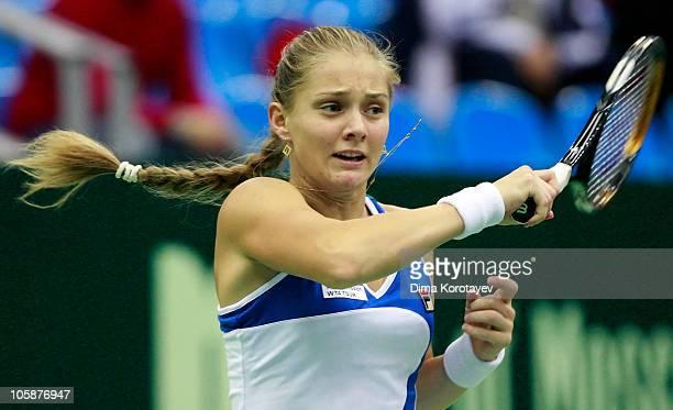 Anna Chakvetadze of Russia in action against Mariya Koryttseva of Ukraine during the XXI International Tennis Tournament Kremlin Cup 2010 at the...