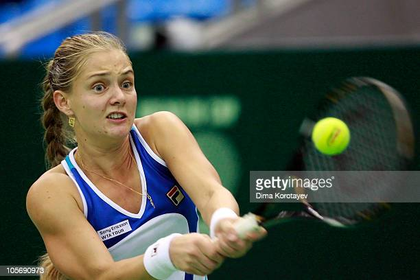 Anna Chakvetadze of Russia in action against Na Li of China during the XXI International Tennis Tournament Kremlin Cup 2010 at the Olympic Stadium on...