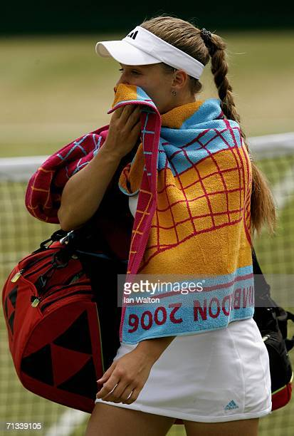 Anna Chakvetadze of Russia looks dejected after losing t Justin HeninHardenne of Belgium during day five of the Wimbledon Lawn Tennis Championships...