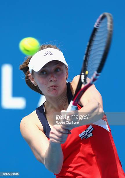 Anna Chakvetadze of Russia plays a backhand in her singles match against Monica Niculescu of Romania during day one of the 2012 Hobart International...