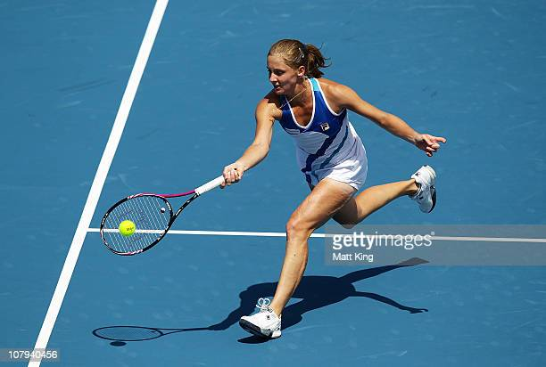Anna Chakvetadze of Russia plays a forehand at the net during her 1st round match against Sara Errani of Italy during day one of the Moorilla Hobart...
