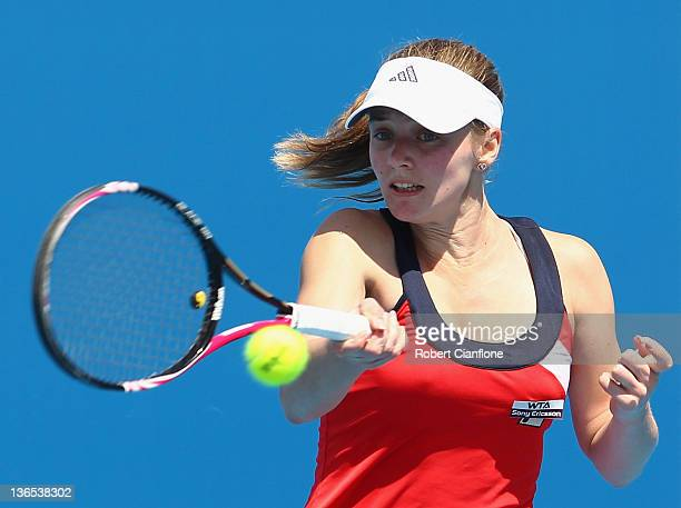 Anna Chakvetadze of Russia plays a forehand in her singles match against Monica Niculescu of Romania during day one of the 2012 Hobart International...