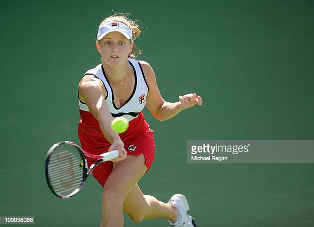 Anna Chakvetadze of Russia plays a shot during her Round 1 match against Daniela Hantuchova of Slovakia during day two of the WTA Dubai Duty Free...