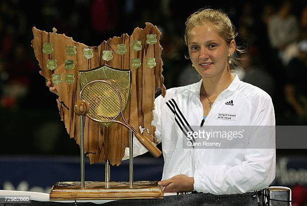 Anna Chakvetadze of Russia poses with the trophy after winning the final against Vasilisa Bardina of Russia on day six of the 2007 Moorilla Hobart...