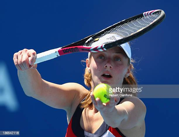 Anna Chakvetadze of Russia prepares to serve in her singles match against Monica Niculescu of Romania during day one of the 2012 Hobart International...