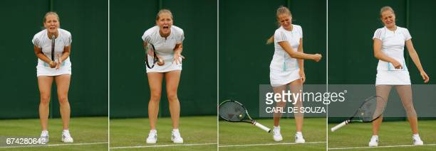 Anna Chakvetadze of Russia reacts after defeating Zi Yan of China on the second day of the Wimbledon Tennis Championships in Wimbledon in south...