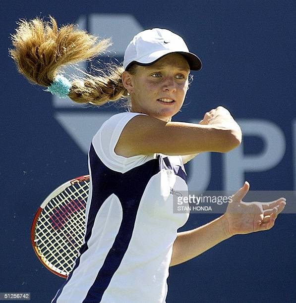 Anna Chakvetadze of Russia returns a shot to fourthseeded Anastasia Myskina of Russia during a second round women's match of the US Open at Flushing...