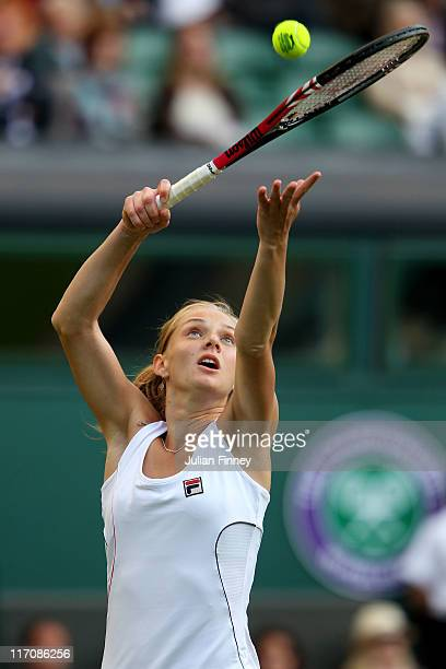 Anna Chakvetadze of Russia serves during her first round match against Maria Sharapova of Russia on Day Two of the Wimbledon Lawn Tennis...
