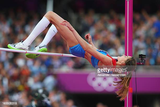 Anna Chicherova of Russia competes in the Women's High Jump Final on Day 15 of the London 2012 Olympic Games at Olympic Stadium on August 11 2012 in...