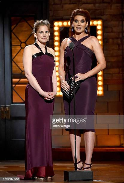 Anna Chlumsky and Debra Messing speak onstage during the 2015 Tony Awards at Radio City Music Hall on June 7, 2015 in New York City.
