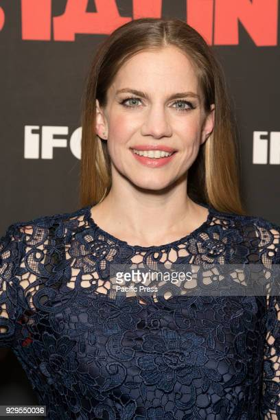 Anna Chlumsky wearing dress by Cynthia Rowley attends New York premiere of IFC Film Death of Stalin at AMC Lincoln Square