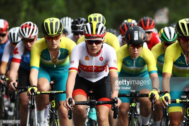 Anna Christian of the Isle of Man competes during the Women's Road Race on day 10 of the Gold Coast 2018 Commonwealth Games at Currumbin Beachfront...