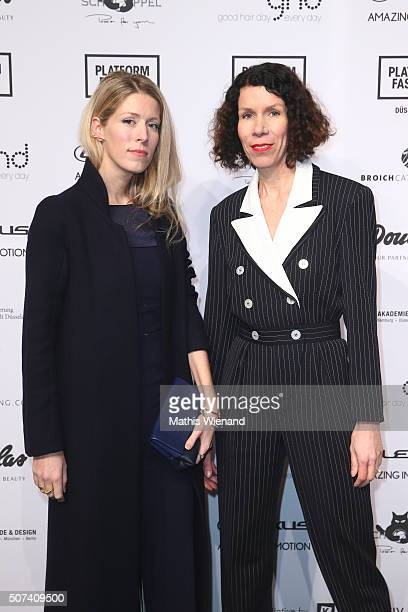 Anna Christin Haas and Ilona Marx attend the AMD Akademie Mode Design show during Platform Fashion January 2016 at Areal Boehler on January 29 2016...
