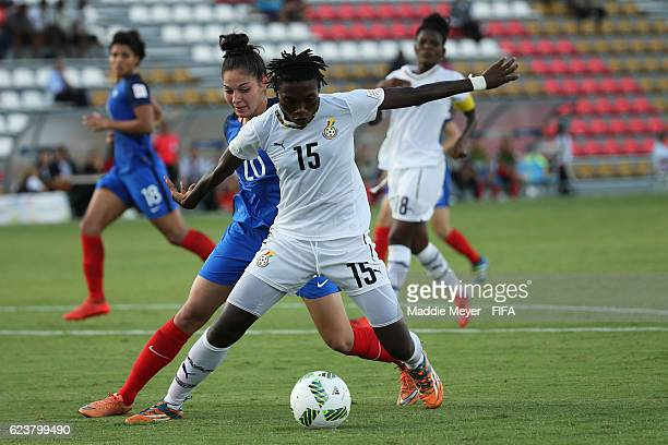 Anna Clerac of France defends Faustina Ampah of Ghana during their Group C match of the FIFA U20 Women's World Cup Papua New Guinea 2016 at PNG...