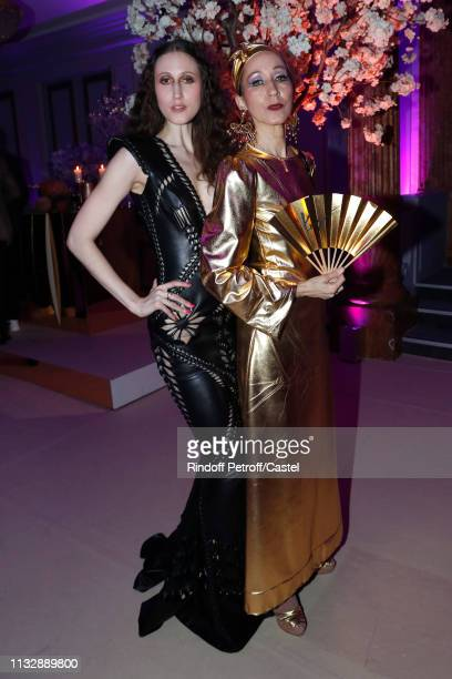 Anna Cleveland and her mother Pat Cleveland attend the 80th Kenzo Takada Birthday Party at Pavillon Ledoyen on February 28 2019 in Paris France