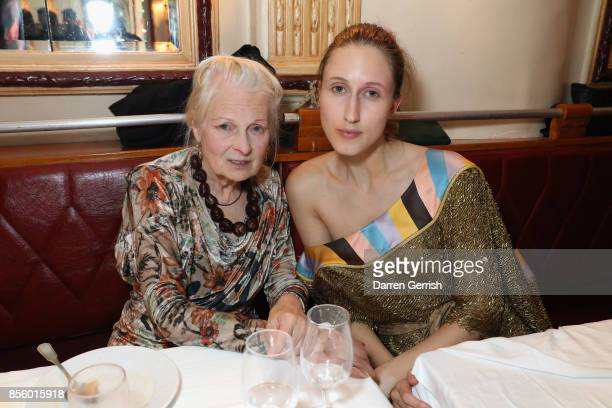 Anna Cleveland and Vivienne Westwood attend a dinner in Paris to celebrate Another Magazine A/W17 hosted by Vivienne Westwood, Andreas Kronthaler,...