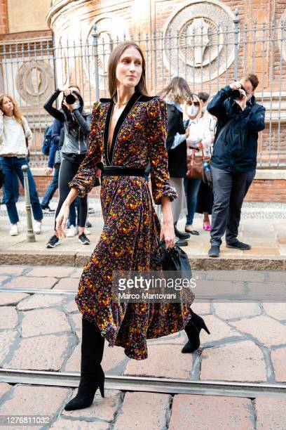 Anna Cleveland attends Philosophy's fashion show during the Milan Women's Fashion Week on September 26, 2020 in Milan, Italy.