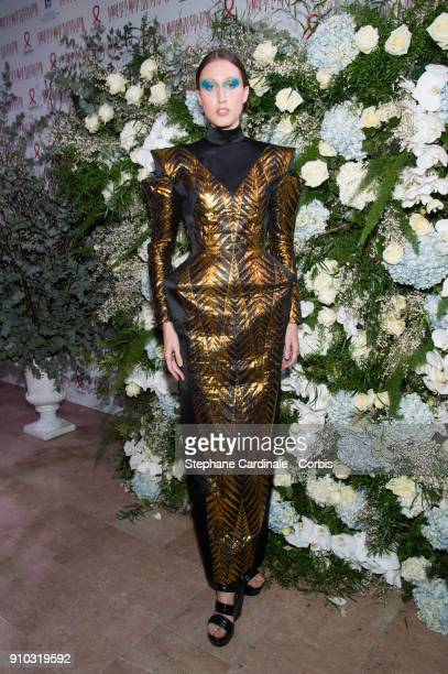 Anna Cleveland attends the 16th Sidaction as part of Paris Fashion Week on January 25 2018 in Paris France