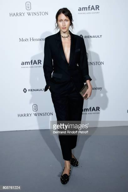 Anna Cleveland attends the amfAR Paris Dinner 2017 at Le Petit Palais on July 2 2017 in Paris France
